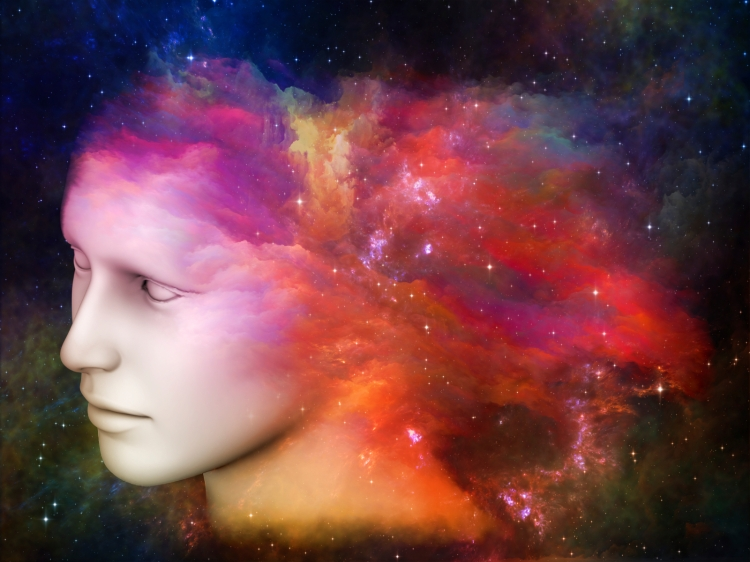 Composition of human head and fractal colors on the subject of mind, dreams, thinking, consciousness and imagination