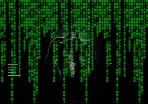 Matrix background with ghosted figure
