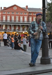 Sax player on Jackson Square