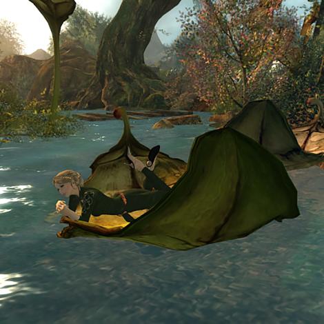 Floating on a leaf