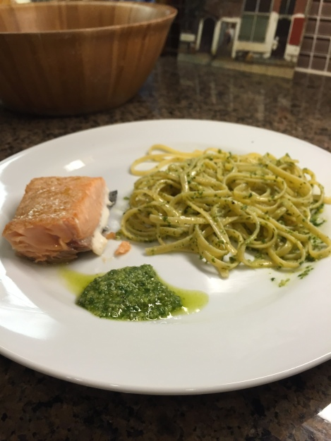 Salmon, pesto and linguine