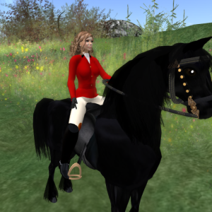 AKK Horse Ranch- Betsy Riding Her Black Friesian, Legend